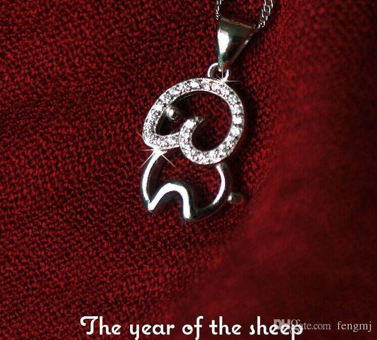 2015 anno di buon auspicio del pendente di argento 925 della capra fortunata della Cina monili di cristallo della donna dello zodiaco di tranditional della Cina