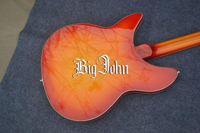 Frete grátis novo Big John oco 12 cordas guitarra elétrica com corpo de mogno em sunburst F-3022