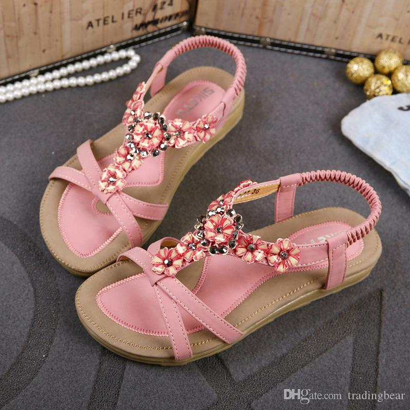 367e4d944449 Plus Size Womens Sandals Comfortable Flower Rhinestone Shoes Beach Flip  Flops For Women Bohemian Sandals Size 35 To 40 41 Saltwater Sandals  Designer Shoes ...
