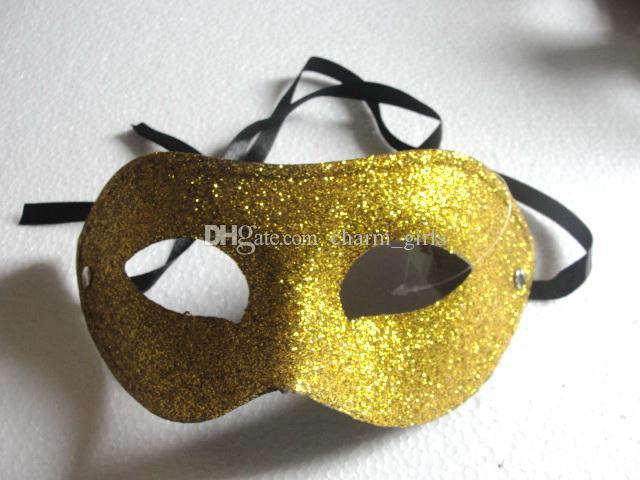 5色選択19 * 8.5cmセクシーな女性エレクトプリートゴールドパウダーフラットヘッドマスク神秘的なダンスマスク100ピース/ロット