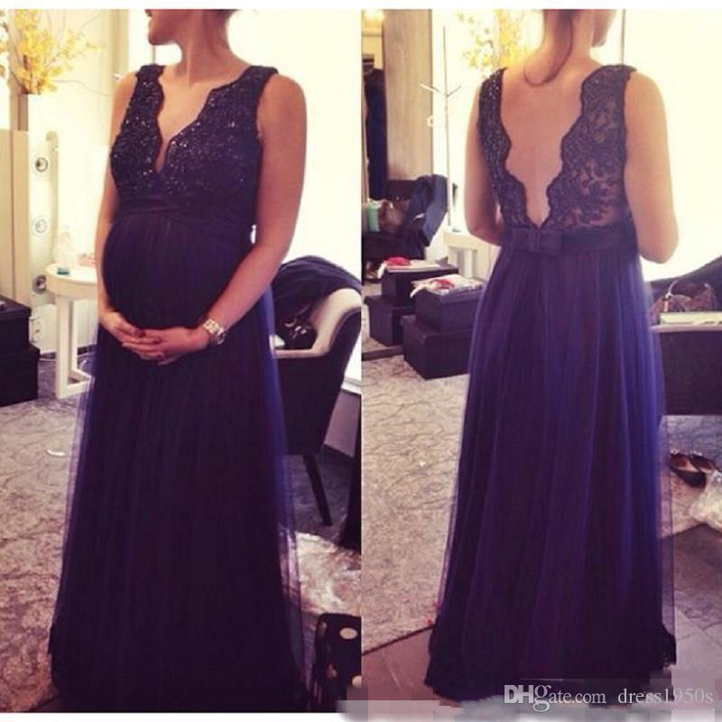 Sexy Modest Sexy Dark Navy Blue Lace Prom Dresses V-Neck Backless Celebrity Pregnant Dress Vestidos de Festa Dresses Party Evening