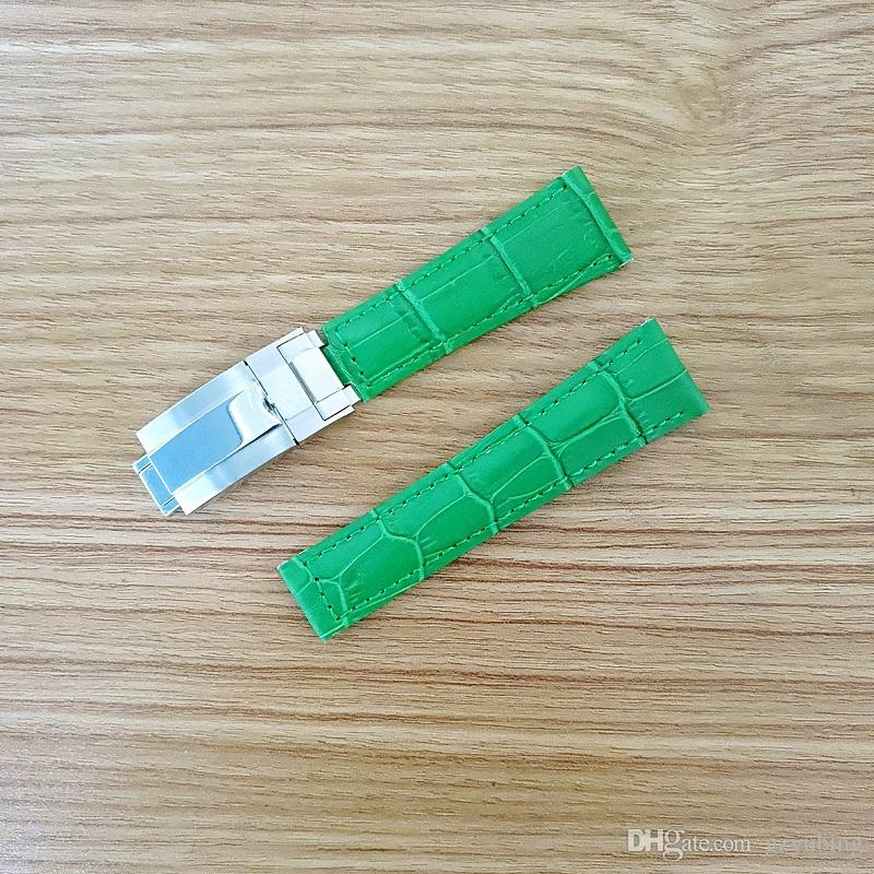20 мм ремешок высокого качества для Rolex SUB / GMT из натуральной кожи с прочным ремешком для часов с серебряной оригинальной стальной пряжкой для часов