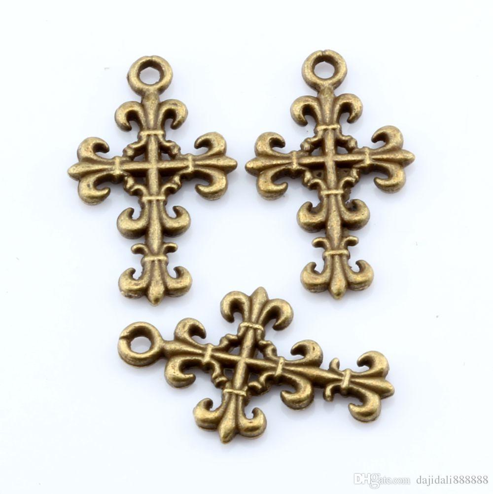 Hot ! Antique Bronze Cross Charms Pendants 14mmx23mm DIY Jewelry