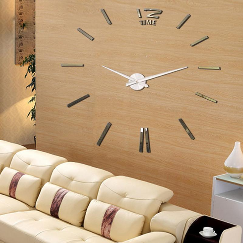 Fashionable Big Size 3d Wall Clock Mirror Diy Clocks Home Decoration Meeting Room Decorative Large Metal