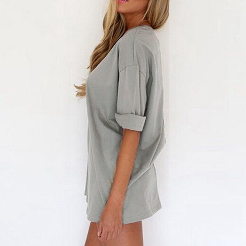 Artı boyutu 5xl 2017 kadınlar casual gevşek gömlek dress katı renk kısa kollu bayanlar mini plaj dress gri / siyah / haki q1113