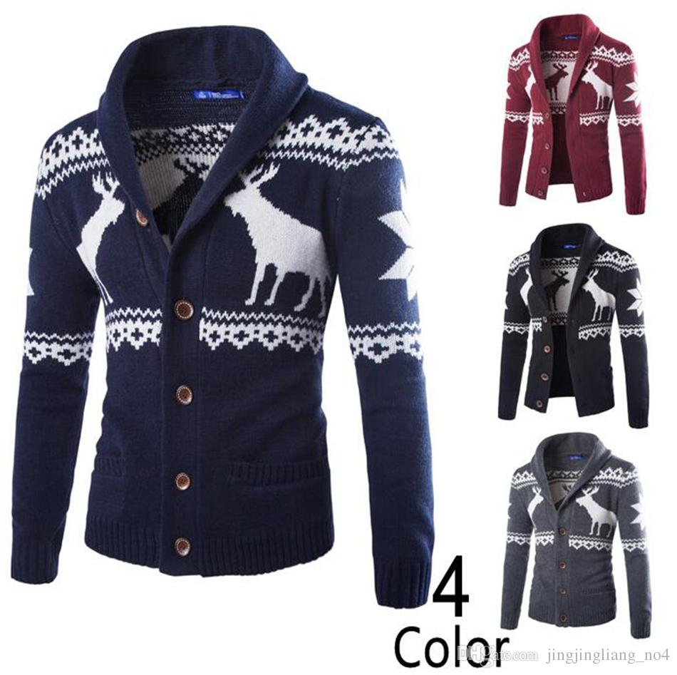 239aa1f6df4 2019 Men Christmas Sweater Cardigan Sweaters Knitted Long Sleeve Men Male  Warm Deer Elk Pullover Jackets OOA3764 From Jingjingliang no4