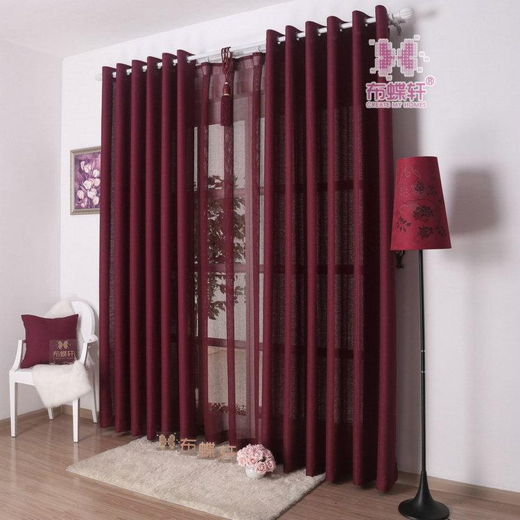 2018 New Arrival Solid Color Curtains For Living Room Plain Curtains Voile Grey Burgundy Yellow