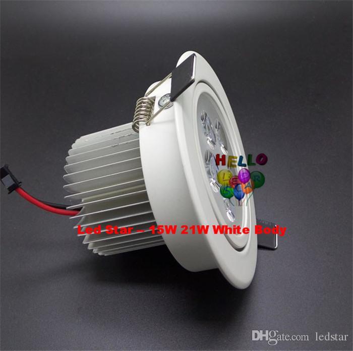 Weiß / Silber Dimmable 9W 12W 15W 21W führte hinunter Lichter hohe Leistung führte Downlights vertiefte Deckenleuchten CRI85 Wechselstrom 110-240V mit Spg.Versorgungsteil
