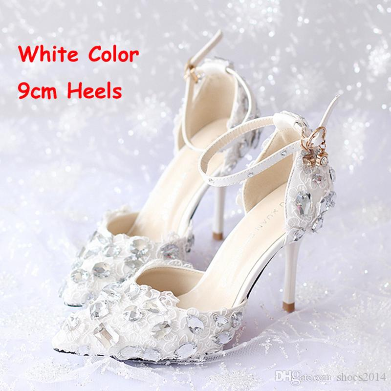 bf348bb92380 Summer New Arrival Ankle Strap Lace Bridal Shoes White Thin Heels ...