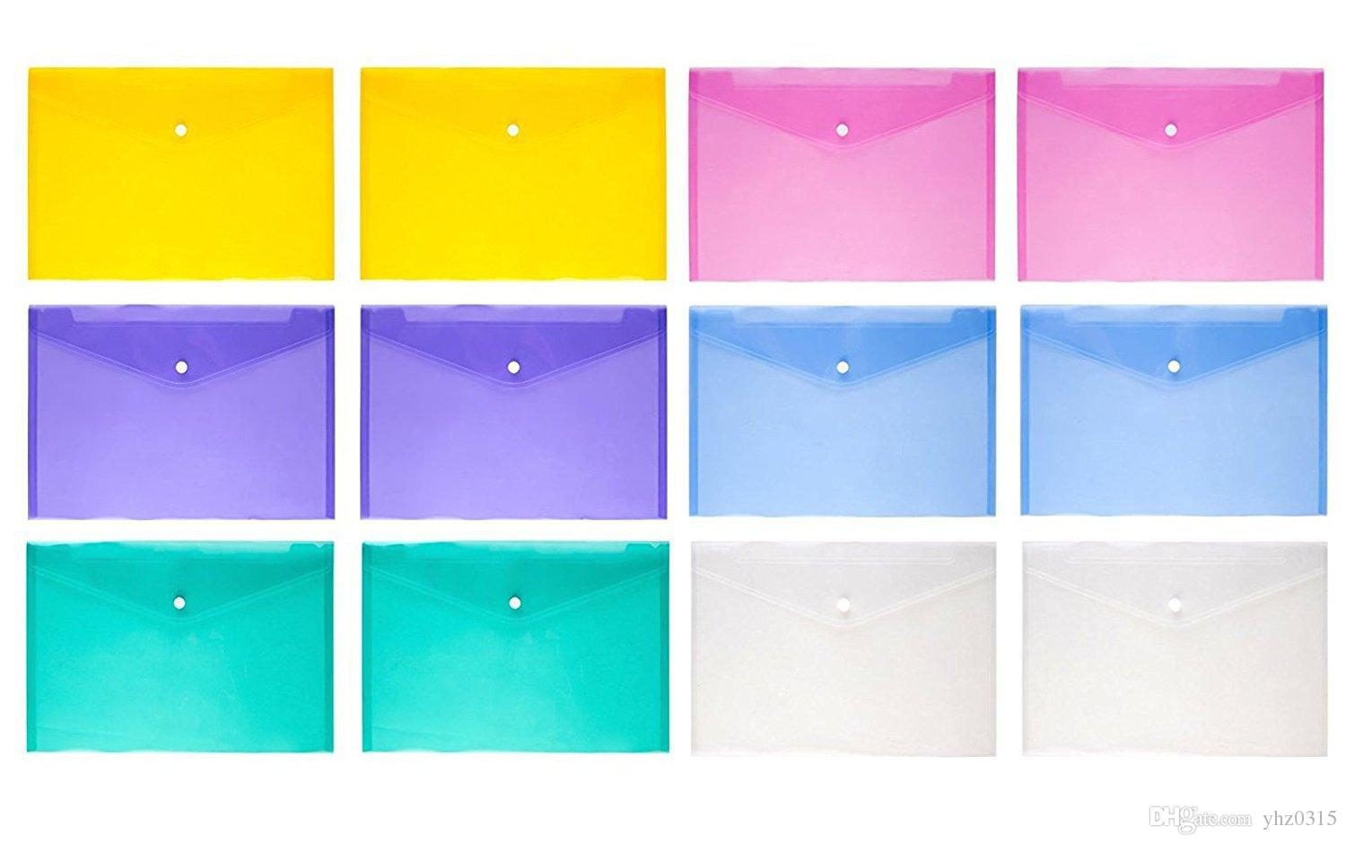 File folder transparent plastic document bag A4 hasp button blew color classified storage stationery bag file holder