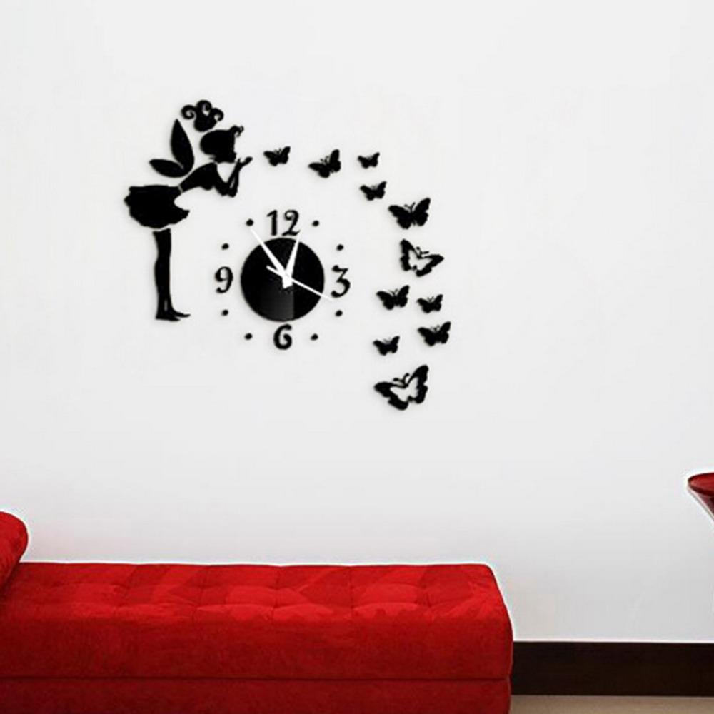 Good Modern Style Fashion Diy Butterfly Fairy Wall Stickers Mirror Acrylic Wall  Clock Kids Room Home Decor Wall Decal Decor Wall Decal Decorations From  Mm942015, ... Good Looking