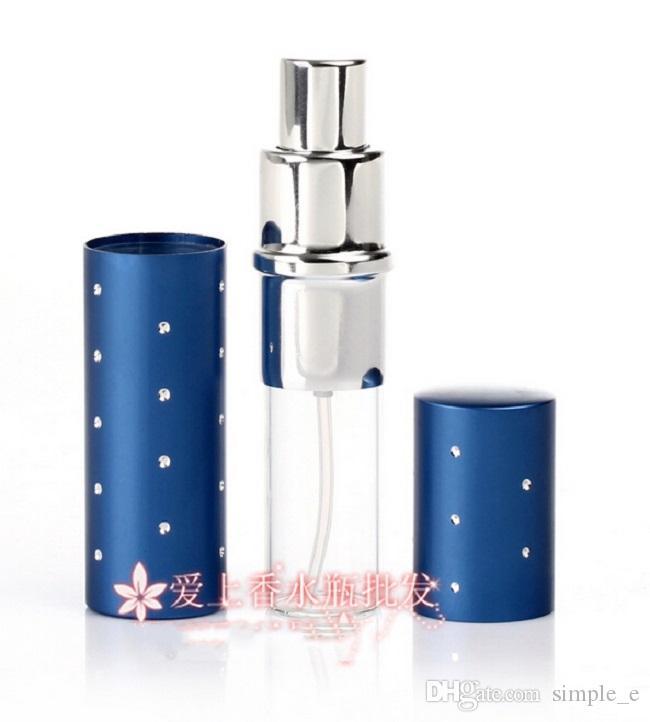 Venta al por mayor DHL Free Ship HQ Colorido 10 ml Perfume de viaje Atomizador recargable Cristal de aluminio Botella vacía Botella portátil Herramienta