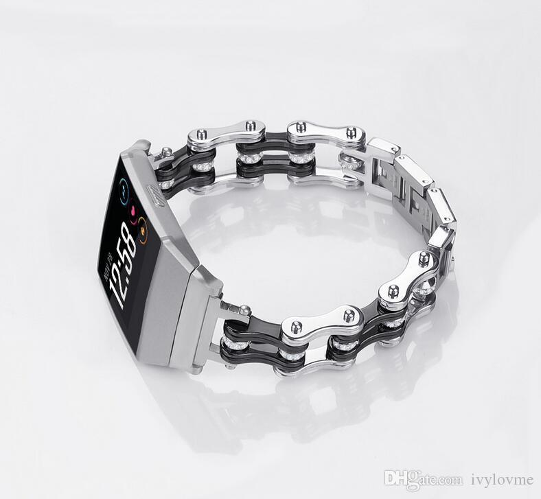 NEUESTE Fahrrad Kettenart Metall Ersatzband für Fitbit Ionic für Fitbit Ionic Edelstahlarmband Smart Watch Band Armband