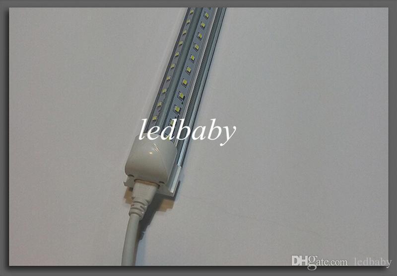 T8 LED Tubes V-shape Integrated 3ft 4ft 5ft 6ft 8ft LED Fluorescent Tube AC85-265V SMD2835 Clear/Milky Cover Warm/Cool White