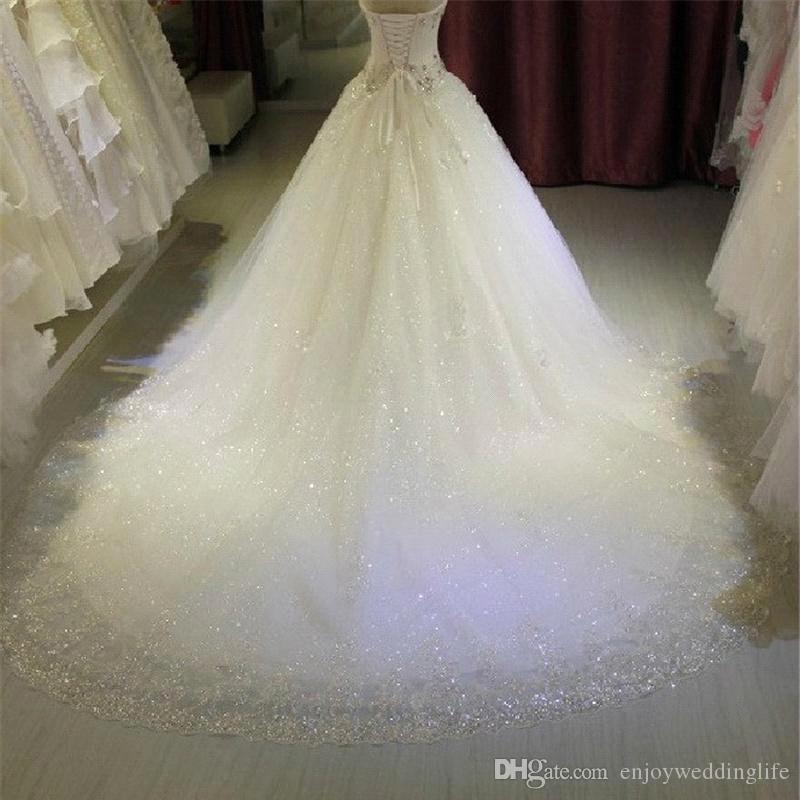 Crystal Rhinestones Sweetheart Wedding Dresses 2018 Luxury A Line Lace Sequins Corset Back Bridal Gowns Custom Made