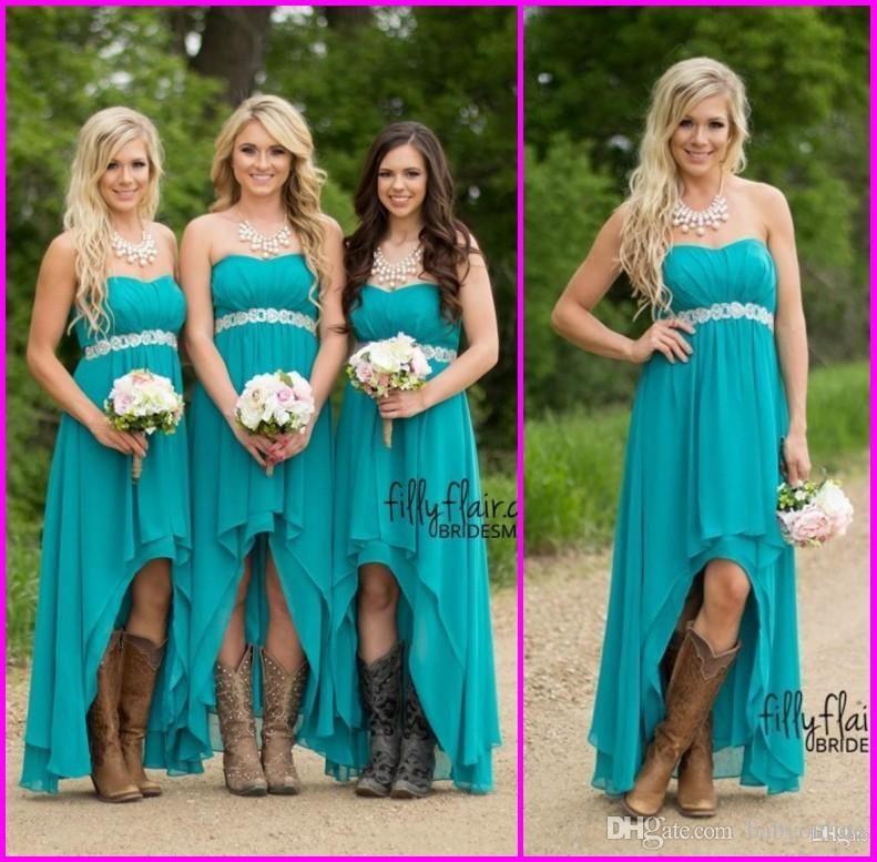 Country Bridesmaid Dresses 2019 Cheap Teal Turquoise Chiffon Sweetheart High Low Beaded With Belt Party Wedding Guest Dress Maid Honor Gowns