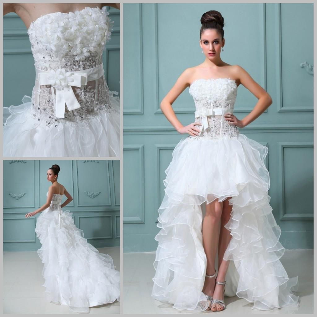 Discount High Low Wedding Dress Strapless Ruffles Organza Short ...