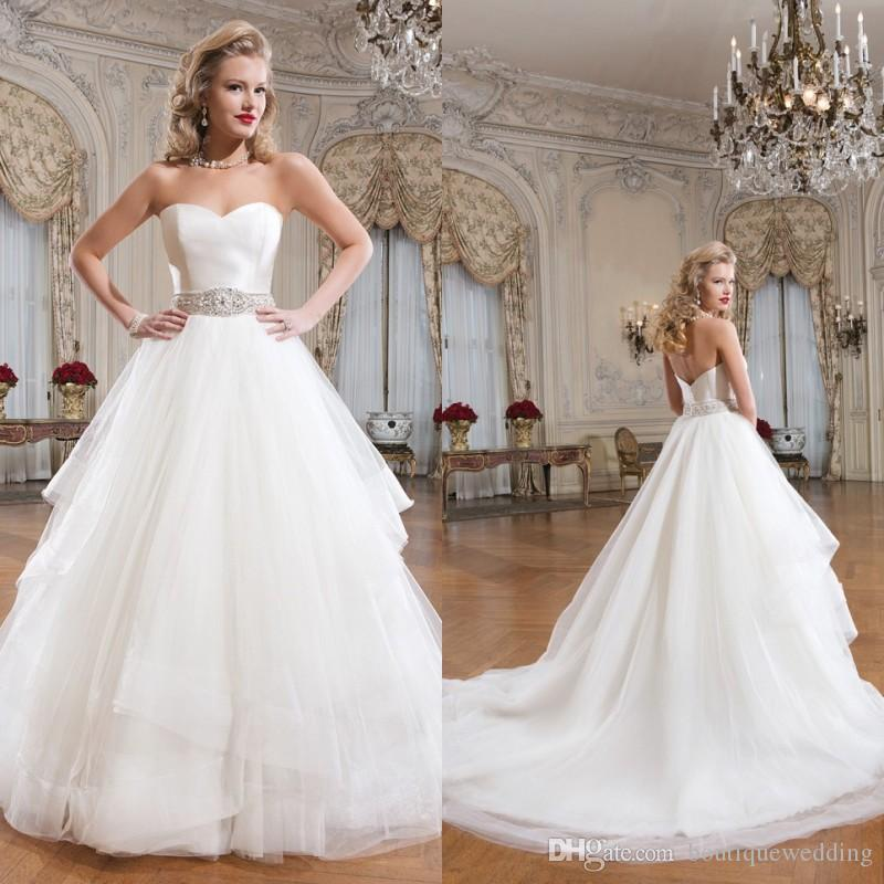 2015 Justin Alexander Ball Gown Tulle Wedding Dresses Sweetheart ...