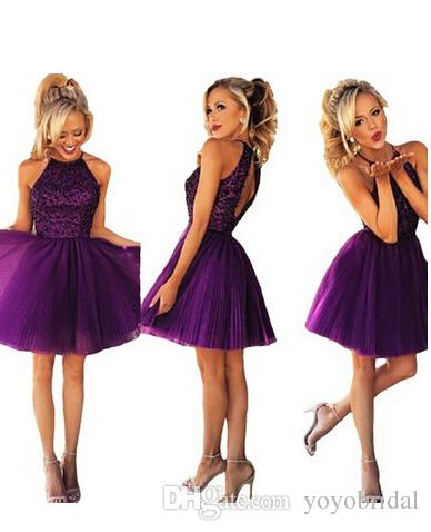 Datk Purple Short Dress