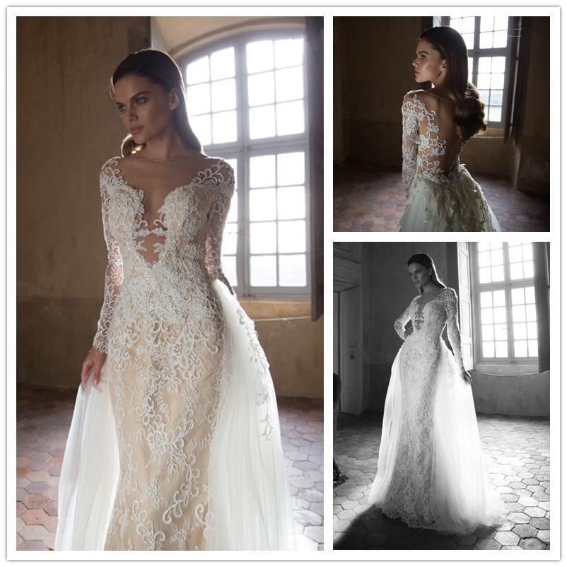 2016 Tarik Ediz Mermaid Lace Wedding Dresses Long Sleeve Detachable ...