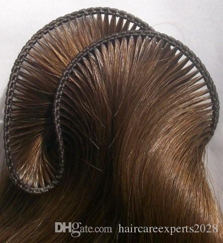 7A # 6 밝은 갈색 100 % 브라질 버진 머리 Weft 자연 스트레이트 손은 인간의 머리카락을 얽매이지 아니 엉킴. .