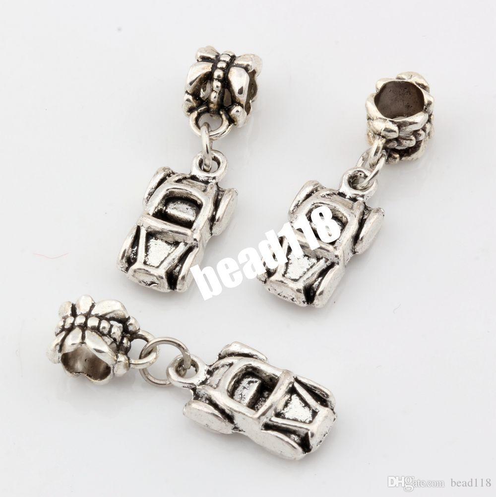 Heet ! 120 stks antieke zilveren legering auto auto converteerbare charmes Dangle bead fit bedelarmband DIY sieraden 26 x 9 mm