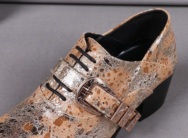 New Design Exclusive Orange Mens Shoes Shine Genuine Leather Man Shoes Lace-Up Oxfords Fashion Wedding Business Shoes Buckle Fashion Show