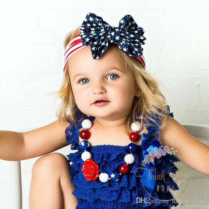 2018 Mix Color Promotion Parent-child Hair Accessories Fashion Designer Flag Bow Hairband Girls Elastic Headdress Headwear Td-78658