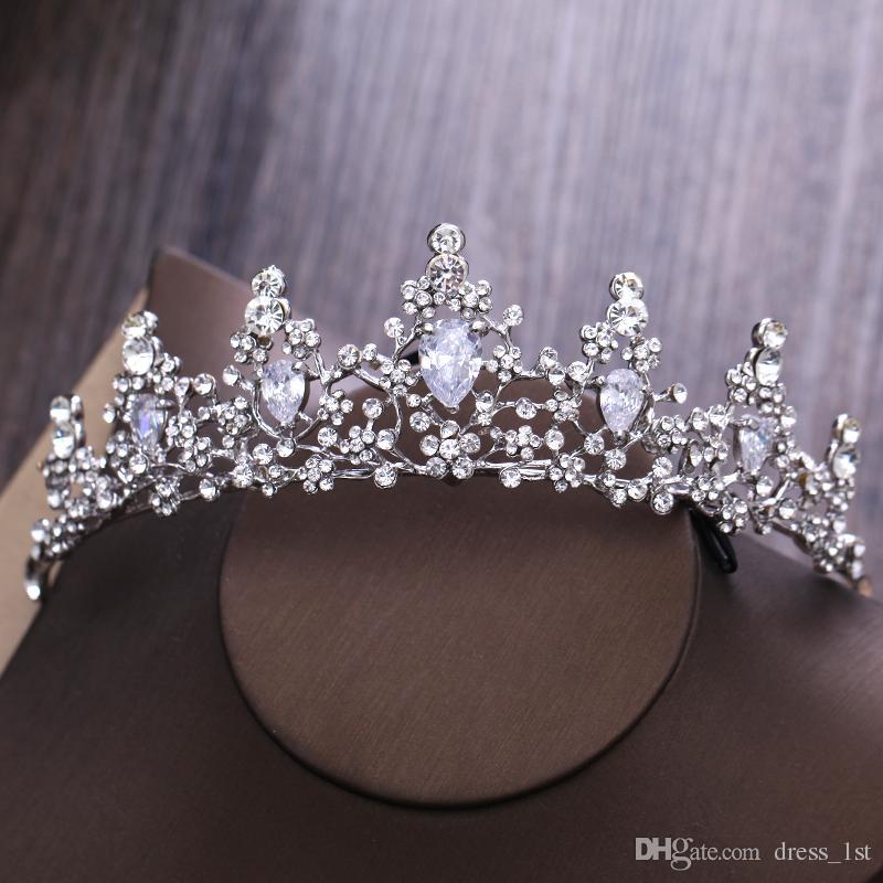 Latest 2017 Bridal Rhinestone Crystal Drop Necklace Earring Tiara Plated Jewelry Sets Wedding Earrings Pendant Cheap EN1102
