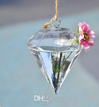 شكل الماس الكريستال والمزهريات الزجاجية الجملة زهرة المزهريات ديكور المنزل شنقا أواني الزهور هدايا الزفاف ديكور