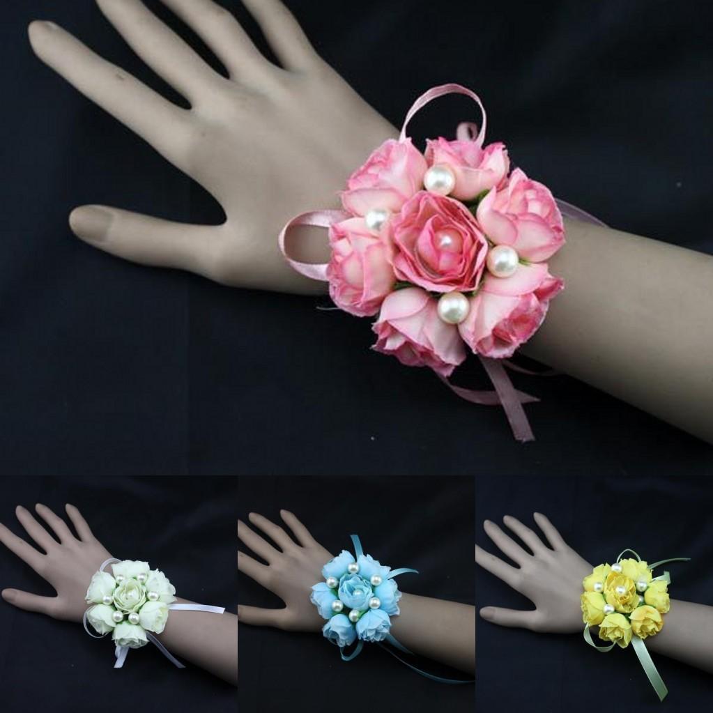 Pinkivoryblueyellow Girl Bridesmaid Wedding Prom Wrist Corsage