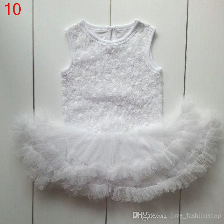 10色0-2tベビーローズフラワーレースロンパースチュールドレスノースリーブストラップソリッドテディスーツセット幼児の女の子服ワンピースベビー服
