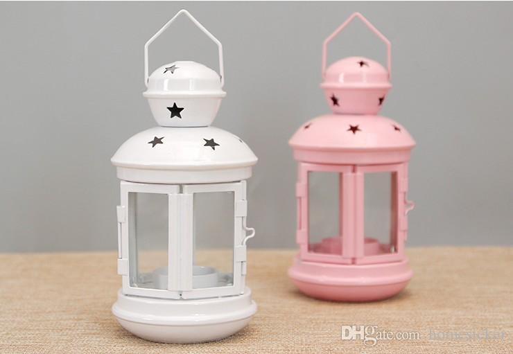 European style wind lamp creative iron glass candle holder for wedding decoration props can hang the candle stand