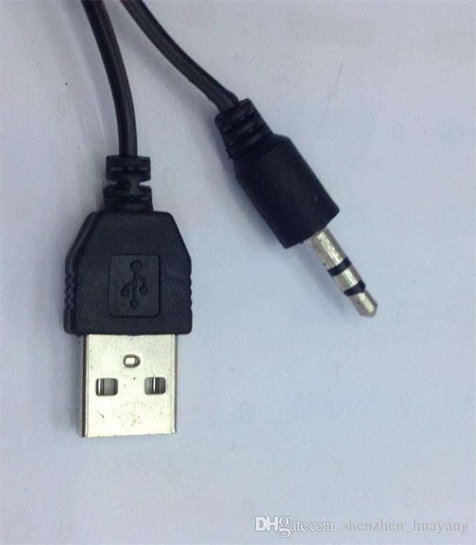 100 Adet USB 2.0 Kablosu Mini USB Erkek Ve Erkek 3.5mm Fiş Ses / Video Hoparlör Kablosu 50 CM Siyah Taşınabilir Hoparlör Ses Kablosu DY