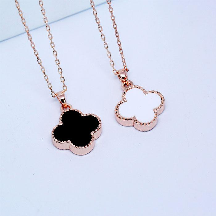 8fa3d188dc461 Double Faced Black Four Leaf Clover Necklace Female Rose Gold Short Design  Pendant Chain Birthday Gift