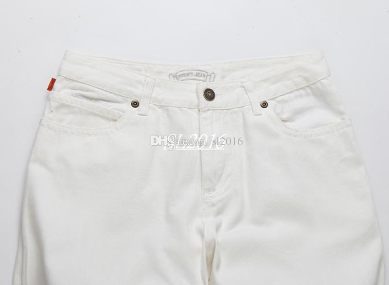 New White american flag jeans for Men Slim Denim Straight distressed jeans men Fashion Designer Famous Brand biker jeans Plus Size 30-42