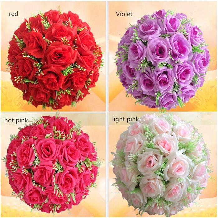 Best 40cm Silk Rose Pomander Flower Ball Bridal Wedding Decor Favor ...