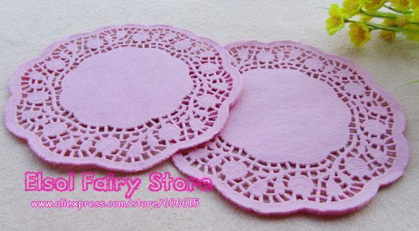 I centrini di torta del doily del merletto di carta rotondo impressi rosa romantico all'ingrosso all'ingrosso 6 pollici  liberano il trasporto