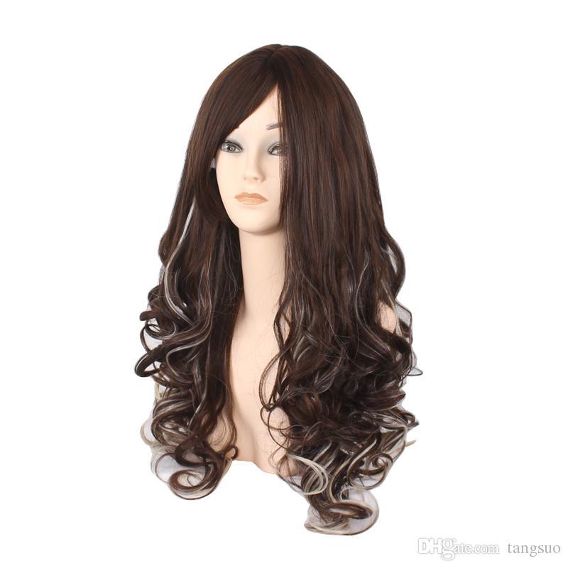 Neue Marke Frauen Braun Grau Farbverlauf Lange Wellenförmige Kunsthaar Perücken Mode Ombre Welle Hitzebeständige Haar Cosplay Perücken Europa Amerikanischen