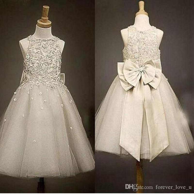 a8d893ca68e5 Vintage Flower Girl Dresses Beaded Lace Top Sleeveless Tulle Skirt Scattered  Flowers Girls Pageant Gowns With Big Bow At Back For Wedding Gold Flower  Girl ...