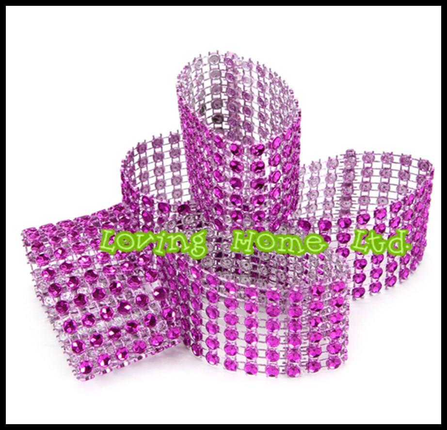 1.5 Inch Purple Rhinestone Napkin Rings 8 Row Diamond Wedding Party ...