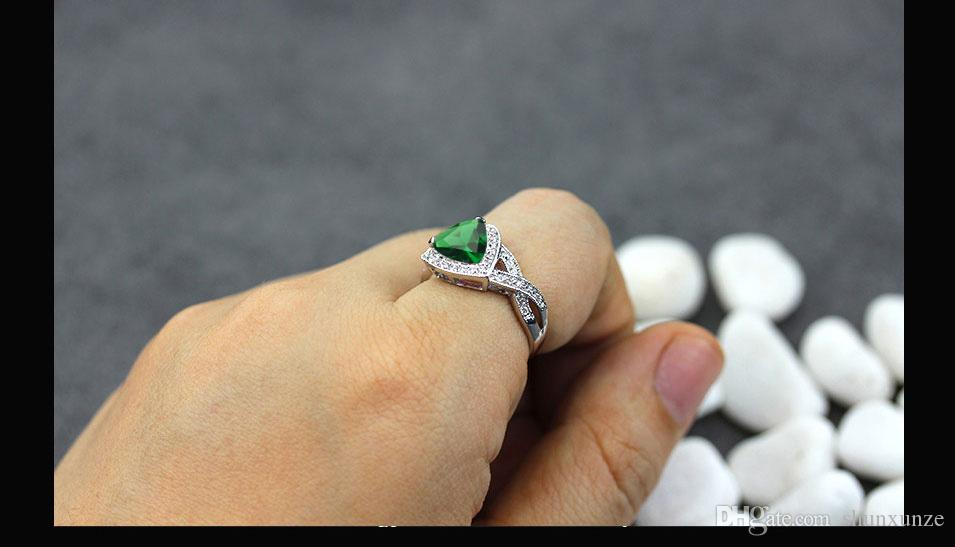 Los primeros productos de clase SHUNXUNZE Bohemia accesorios anillos de boda joyería para las mujeres dropshipping Peridot circonio cúbico plateado rodio R562