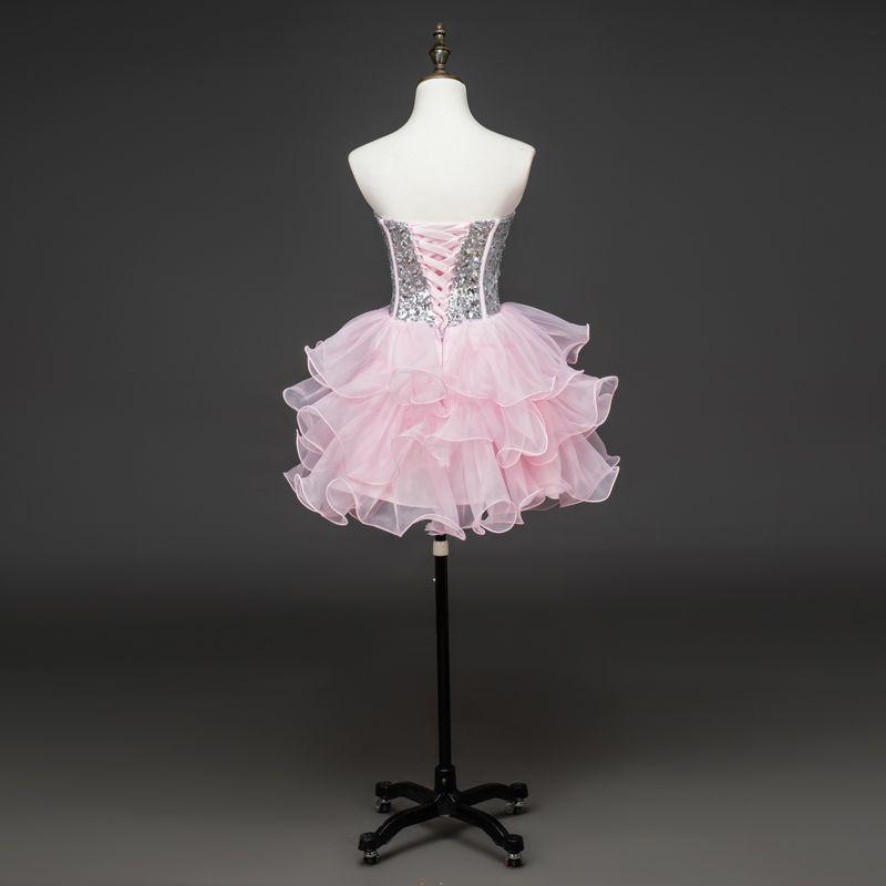 Ruffled Ball Gown Sweetheart Beaded Crystal Prom 귀가 짧은 드레스 2019 우아한 무도회 가운 100 % 진짜 사진 레이스