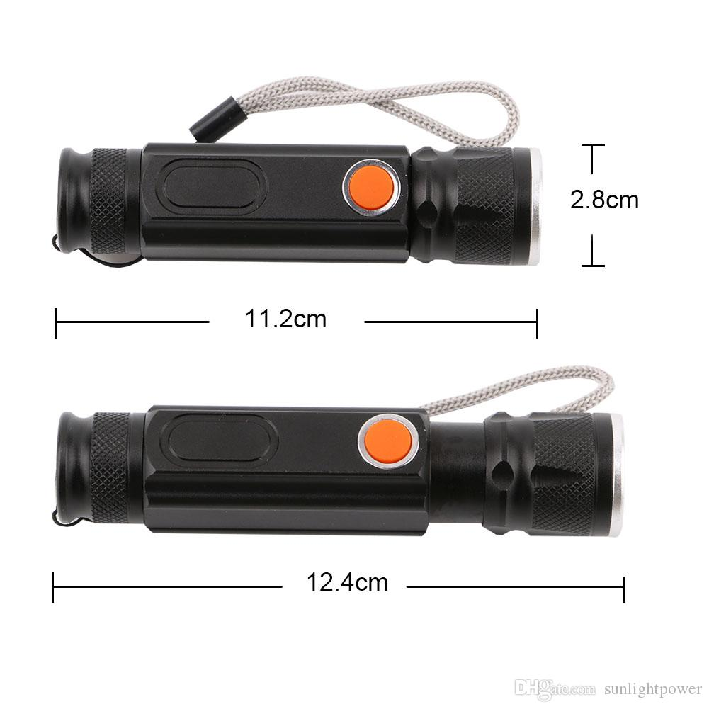 USB Rechargeable Mini T6+COB LED Flashlight 4 Modes Zoomable Handy LED Flash Light Torch Camping Light with Magnet Built Battery