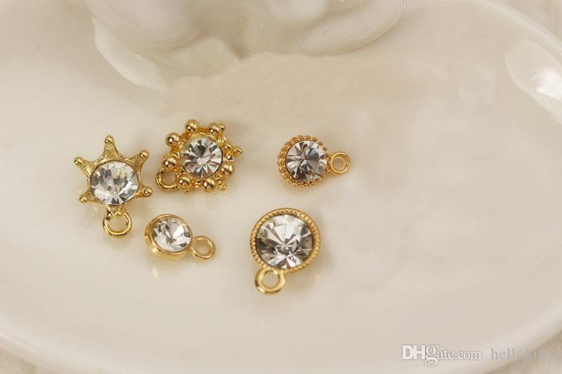 20 stks mode gemengd veel heldere strass gouden bedel druppels # 92234