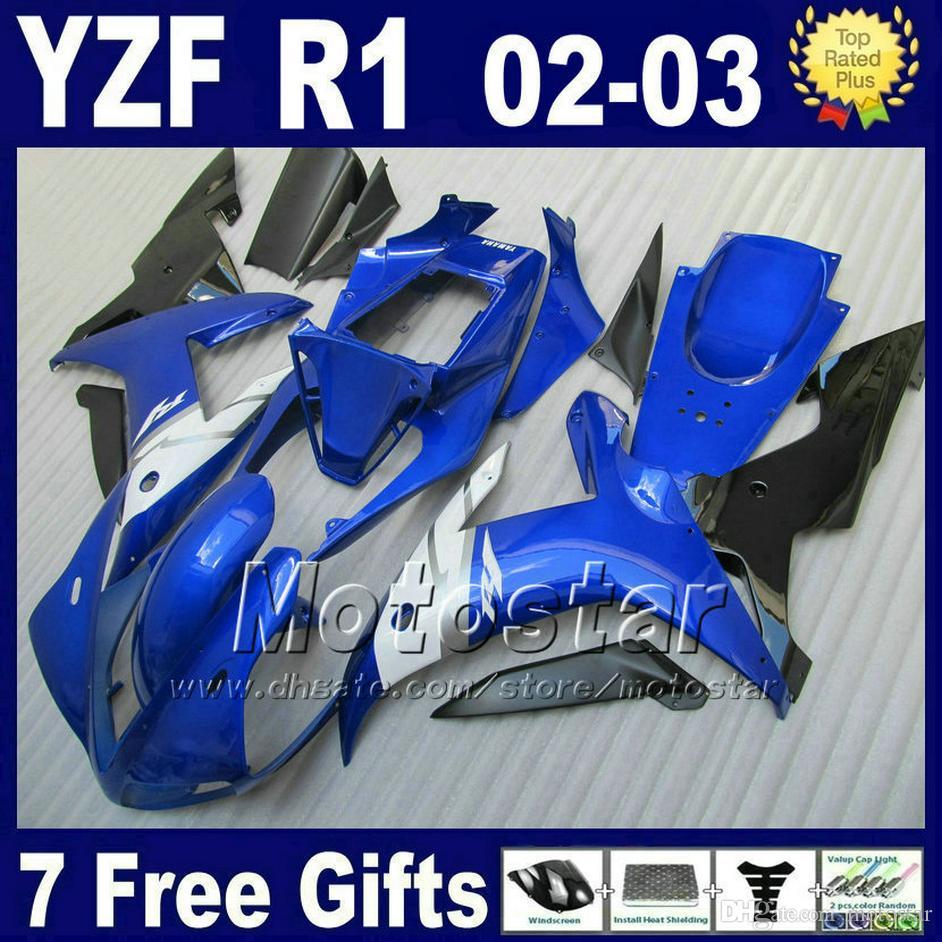 OEM carenado de inyección azul para YAMAHA 2002 2003 YZF R1 kits de cuerpo del cuerpo azul negro yzf1000 kit de carrocería set 6B4J + 7 regalos