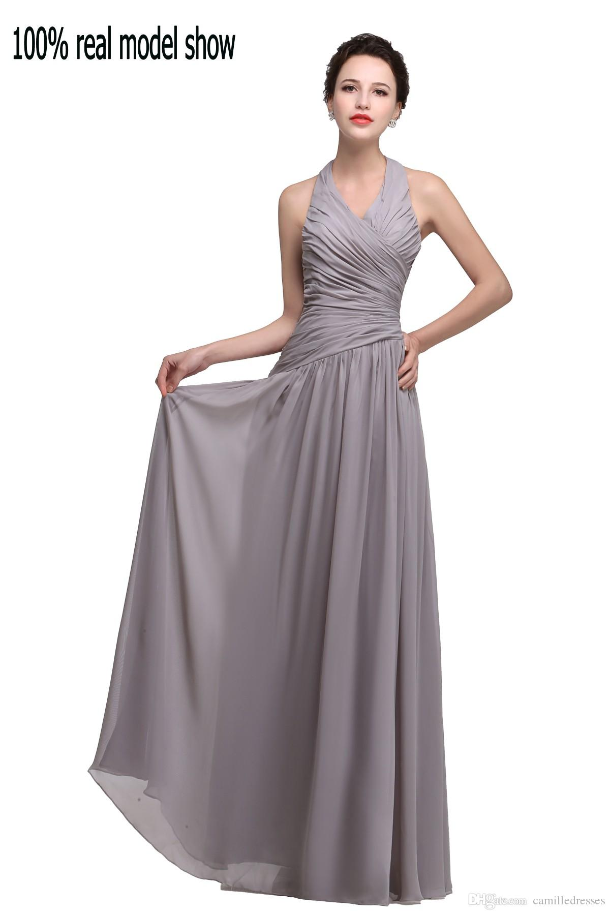 Elegant 2015 Designer Halter Evening Gowns Silver Gray Backless ...