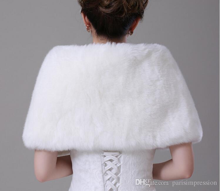 Pure White Fall Winter Warm Lapel Faux Fur Shrug With Button Wedding Shawl Bride Prom Party Bridal Wraps Jacket Women Bolero Jackets