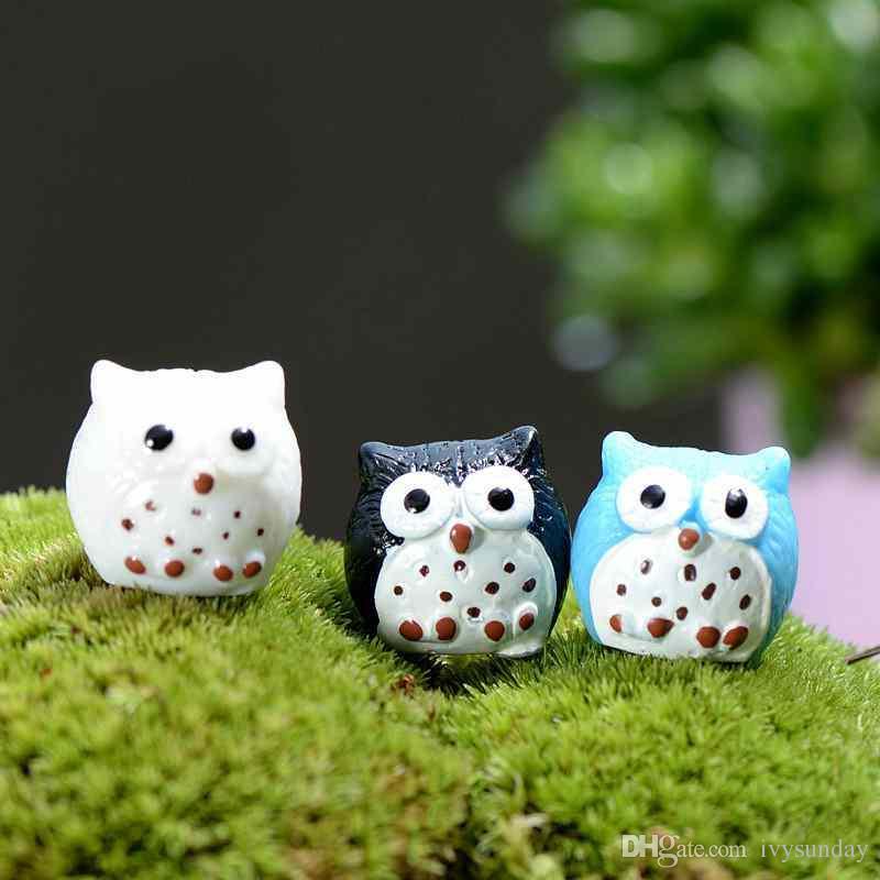 Mini Resin Small Owl Fairy Garden Miniatures Handicraft Moss Terrarium Creative Green Plant Gift Micro Landscape Ornaments DIY Zakka