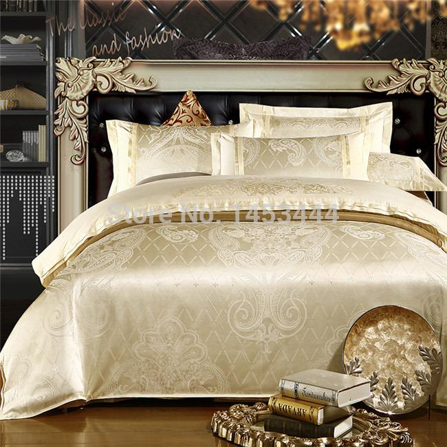 2019 luxury white silver gold silk satin bedspreads embroidered bed in a bag jacquard comforter. Black Bedroom Furniture Sets. Home Design Ideas
